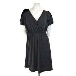 Delirious Gray Soft Casual Surplice A-Line Dress